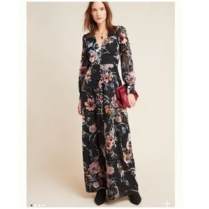 Yumi Kim NWT V Neck Floral Velvet Maxi Dress